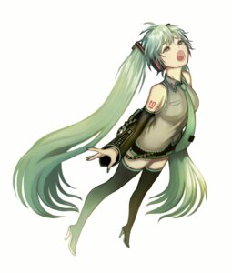 Rating: Safe Score: 16 Tags: *samae* hatsune_miku headphones heels tattoo thighhighs vocaloid User: charunetra