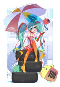 Rating: Safe Score: 32 Tags: hatsune_miku headphones racing_miku stockings tagme thighhighs umbrella vocaloid User: saemonnokami