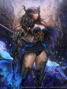 Rating: Safe Score: 52 Tags: armor cleavage horns legend_of_the_cryptids monster nax_(lagais) no_bra pantsu sword thighhighs User: Mr_GT