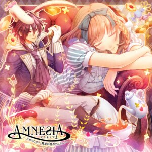 Rating: Safe Score: 18 Tags: alice_in_wonderland amnesia animal_ears bunny_ears cosplay disc_cover dress hanamura_mai lolita_fashion maid shin_(amnesia) shujinkou_(amnesia) User: Riven