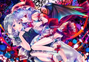 Rating: Safe Score: 31 Tags: bloomers izayoi_sakuya remilia_scarlet stockings teruru thighhighs touhou wings User: Nekotsúh