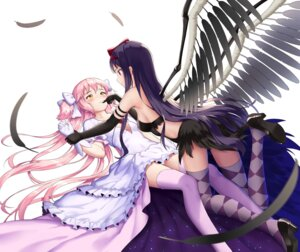 Rating: Safe Score: 46 Tags: akemi_homura cleavage dress drogoth heels puella_magi_madoka_magica thighhighs ultimate_madoka wings yuri User: Mr_GT