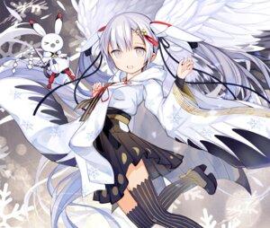 Rating: Questionable Score: 30 Tags: hatsune_miku heels japanese_clothes kari_kenji thighhighs vocaloid wings yuki_miku User: sym455