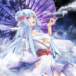 Rating: Questionable Score: 15 Tags: ayakashi_hyakkiyakou cleavage kimono open_shirt pointy_ears sarashi smoking tagme umbrella underboob User: charunetra