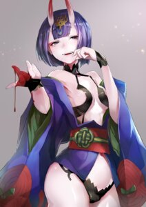 Rating: Safe Score: 40 Tags: fate/grand_order horns japanese_clothes no_bra open_shirt pantsu shuten_douji_(fate/grand_order) taishi_(picchiridou) User: Mr_GT