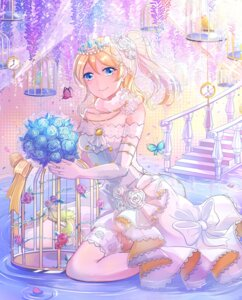 Rating: Safe Score: 42 Tags: ayase_eli dress love_live! thighhighs wedding_dress xinghuo User: Mr_GT