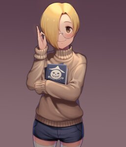 Rating: Safe Score: 13 Tags: goback megane shirasaka_koume sweater the_idolm@ster the_idolm@ster_cinderella_girls thighhighs User: Dreista