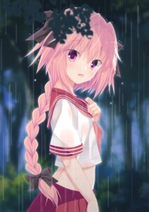 Rating: Questionable Score: 24 Tags: astolfo_(fate) egoistic_honey fate/grand_order hazumi_rio see_through seifuku trap wet wet_clothes User: fireattack