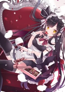 Rating: Safe Score: 32 Tags: cleavage maid pointy_ears skirt_lift thighhighs valentine yuzuki_yugina08 User: yanis