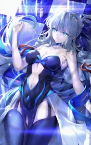 Rating: Questionable Score: 39 Tags: cleavage dress fate/grand_order hane_yuki morgan_le_fay_(fate) no_bra stockings thighhighs User: Mr_GT
