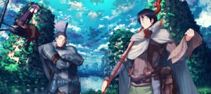 Rating: Safe Score: 23 Tags: akatsuki_(log_horizon) armor jan_(artist) log_horizon megane naotsugu shiroe_(log_horizon) sword weapon User: Zenex