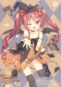 Rating: Questionable Score: 112 Tags: dress halloween hazuki_watora luminocity peco tail thighhighs wings witch User: Twinsenzw