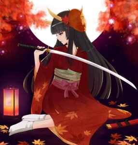 Rating: Safe Score: 34 Tags: hinomoto_oniko horns kimono nuko_(mikupantu) sword User: Nekotsúh