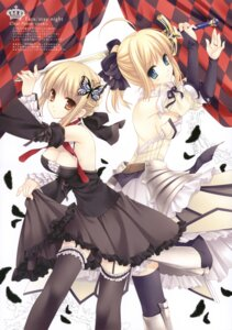 Rating: Safe Score: 80 Tags: cleavage fate/stay_night fate/unlimited_codes fixed garter gothic_lolita lolita_fashion saber saber_alter saber_lily stockings sword tatekawa_mako thighhighs wnb User: fireattack