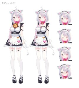 Rating: Safe Score: 36 Tags: animal_ears character_design cleavage expression heterochromia maid roro-chan rurudo stockings tail tattoo thighhighs User: zyll