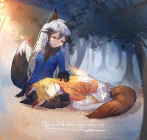 Rating: Safe Score: 31 Tags: animal_ears ezo_red_fox kemono_friends nasuno_chiyo pantyhose silver_fox tail User: Mr_GT