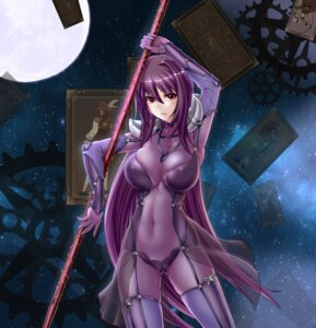 Rating: Questionable Score: 58 Tags: armor bodysuit cameltoe erect_nipples fate/grand_order ryuuzouji_usagi scathach_(fate/grand_order) see_through stockings thighhighs weapon User: mash