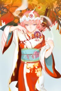 Rating: Safe Score: 14 Tags: kimono qidai saigyouji_yuyuko sword touhou User: Mr_GT