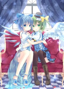 Rating: Safe Score: 48 Tags: cirno daiyousei marotti thighhighs touhou wings User: Nekotsúh