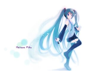 Rating: Safe Score: 22 Tags: hatsune_miku kotobamaru thighhighs vocaloid User: fairyren