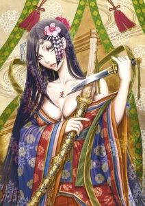 Rating: Questionable Score: 15 Tags: japanese_clothes no_bra open_shirt sword tattoo tsukasa_jun weapon User: Twinsenzw