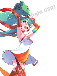 Rating: Safe Score: 52 Tags: dress hatsune_miku racing_miku stockings thighhighs vocaloid yoneyama_mai User: nphuongsun93