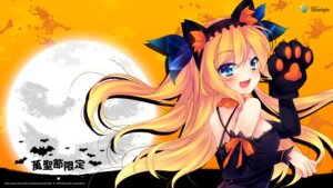 Rating: Safe Score: 53 Tags: aizawa_hikaru animal_ears halloween microsoft nekomimi shinia wallpaper User: fairyren