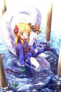 Rating: Safe Score: 33 Tags: ayakashi_(artist) mishaguji moriya_suwako thighhighs touhou wet yukata User: charunetra