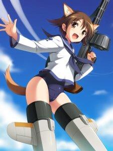 Rating: Questionable Score: 39 Tags: animal_ears cameltoe cygnus gun inumimi miyafuji_yoshika school_swimsuit seifuku strike_witches swimsuits tail User: Nekotsúh