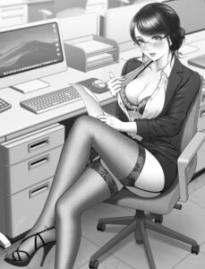 Rating: Questionable Score: 47 Tags: bra business_suit cleavage heels megane minamoto_natsuki monochrome open_shirt stockings thighhighs User: mash