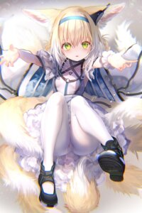 Rating: Safe Score: 45 Tags: animal_ears arknights kitsune pantyhose pottsness skirt_lift suzuran_(arknights) tail User: BattlequeenYume