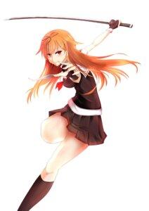 Rating: Safe Score: 24 Tags: e_ryu_2004107 kantai_collection seifuku sword yuudachi_(kancolle) User: mash