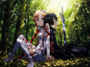 Rating: Safe Score: 63 Tags: adachi_shingo asuna_(sword_art_online) kirito sword sword_art_online thighhighs User: _Astara