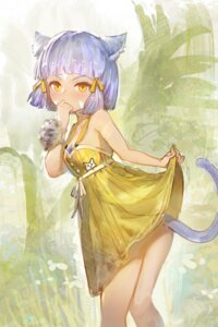 Rating: Questionable Score: 15 Tags: animal_ears dress nekomimi no_bra skirt_lift summer_dress tagme tail User: Mr_GT