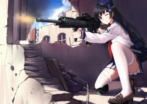Rating: Safe Score: 79 Tags: allenes gun seifuku thighhighs User: Mr_GT