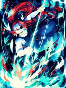 Rating: Safe Score: 5 Tags: cleavage eyepatch invidiata torn_clothes undertale undyne weapon User: charunetra