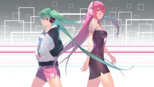 Rating: Safe Score: 44 Tags: dress hatsune_miku headphones jandy megurine_luka vocaloid wallpaper User: charunetra