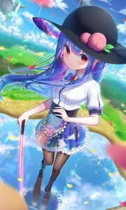 Rating: Questionable Score: 26 Tags: hinanawi_tenshi kiramarukou pantsu pantyhose skirt_lift sword touhou User: yanis