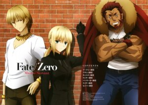 Rating: Safe Score: 16 Tags: fate/stay_night fate/zero gilgamesh_(fsn) kikuchi_syunya rider_(fate/zero) saber User: PPV10