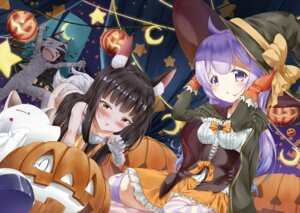 Rating: Questionable Score: 22 Tags: animal_ears azur_lane bandages halloween mutsu_(azur_lane) nagato_(azur_lane) naked_ribbon pantsu tail thighhighs unicorn_(azur_lane) wakamoto_riwo witch User: BattlequeenYume