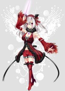 Rating: Safe Score: 32 Tags: cleavage heels phantasy_star_online_2 sakura_chiyo_(konachi000) thighhighs transparent_png weapon wings User: charunetra