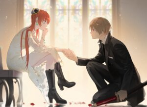 Rating: Safe Score: 20 Tags: business_suit dress gintama heels kagura loli_bushi okita_sougo sword User: Mr_GT