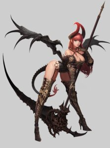 Rating: Questionable Score: 53 Tags: ake_(cherrylich) armor cleavage devil horns leotard stockings tail thighhighs weapon wings User: mash