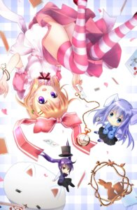 Rating: Safe Score: 43 Tags: animal_ears bunny_ears chibi dress gochuumon_wa_usagi_desu_ka? hoto_cocoa kafuu_chino pantsu tedeza_rize thighhighs tippy_(gochuumon_wa_usagi_desu_ka?) waitress yuitsuki1206 User: Mr_GT
