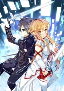 Rating: Safe Score: 15 Tags: asuna_(sword_art_online) kirito sword sword_art_online thighhighs xephonia User: fairyren