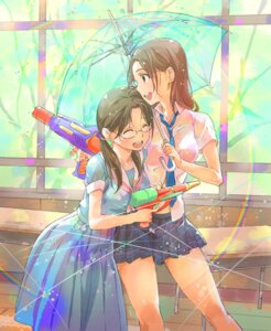Rating: Safe Score: 34 Tags: bra gun hosoi_mieko megane see_through seifuku umbrella wet_clothes yakusoku~sunnyrain_memories~ User: mash