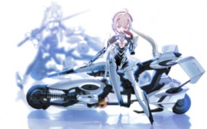 Rating: Safe Score: 15 Tags: ach bodysuit busou_shinki choco cleavage mecha_musume megane no_bra wallpaper User: withul