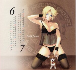 Rating: Questionable Score: 62 Tags: calendar cleavage lingerie miyata_ao muvluv pantsu paper_texture stella_bremer thighhighs User: anime_love_angel