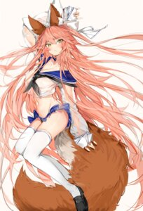 Rating: Questionable Score: 30 Tags: animal_ears fate/grand_order kitsune no_bra pantsu see_through seifuku silver_(chenwen) skirt_lift tail tamamo_no_mae thighhighs User: Mr_GT