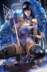 Rating: Questionable Score: 92 Tags: fishnets hyuuga_hinata japanese_clothes leotard naruto no_bra sakimichan sword thighhighs User: BattlequeenYume